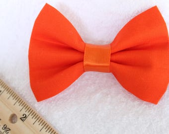 Basic Solid Orange Bow - Hairbow - Clip-on Bowtie