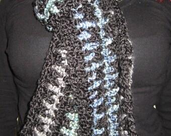 Black Scarf with Stripes