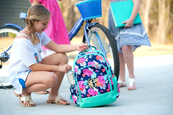 Girl's Backpack,Floral with Mint accent, Monogram Included