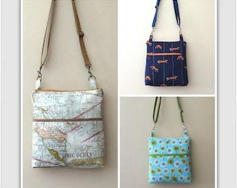 Bag sewing pattern, purse pattern, pdf download pattern, easy to sew pattern, small bag pattern, zipper bag pattern