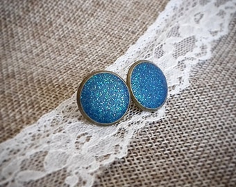Earrings cabochon glitter