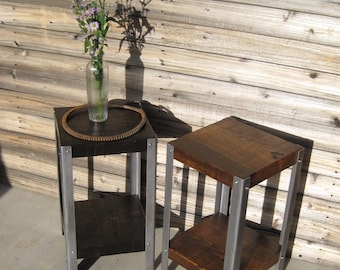 Rustic Reclaimed Wood Accent Table - Side Table - End Table - Plant Stand - Reclaimed Timber / Steel