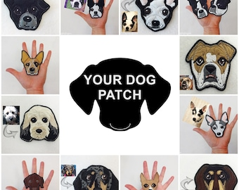 Custom Dog Patch. Handmade Dog Portrait. Dog Face Textile Art.