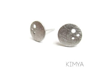 Contemporary Silver Earrings - Modern Everyday Silver Stud Earrings - Arty Circle Earrings - Handmade Contemporary Jewelry -