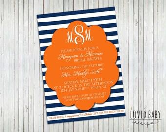 Monogram and Mimosas Bridal Shower Invitation - Printable, 5x7, Orange and Blue, Auburn Shower Invitation
