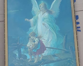 Classic Vintage Print of Guardian Angel Watching Children Crossing a Bridge