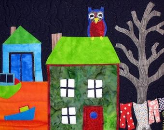 Night Owl, 5x7 Card, Free Shipping, Laundry, Tree, Folk Art, Birthday Card, Moving Card, Kelly Burgess, Nova Scotia, Happy Card, Retirement