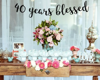 Cheers to 40 Years Banner,40th Birthday Sign, 40th Birthday Party,40th Birthday Decor, 40th Party Banner,Glitter Banner, 40th Anniversary