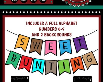 Sweet Bunting Set Bundle | Full Alphabet | Numbers | Cutting Files | Printable | svg | eps | dxf | png | Garland | Pennant | DIY Banner