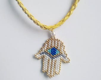 Snow white Hamsa , Fatima hand bracelet , amulet