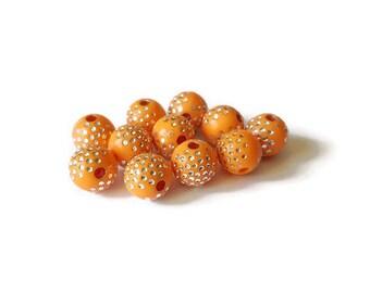 Orange dots round beads silver 8mm