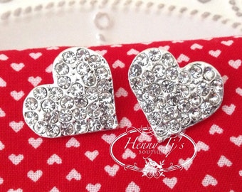 22mm Sparkling Heart Rhinestone Buttons, Crystal Buttons Embellishment, Valentines Day Buttons, Wedding accessories, bridal brooch