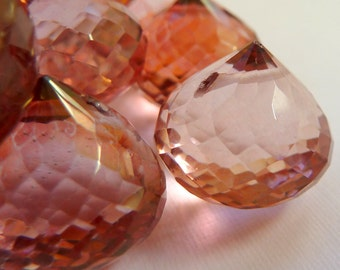 Faceted Gemstone Pink Mystic Quartz Briolette Onion Cut 19mm 17mm