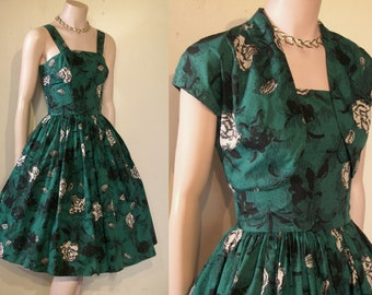 "Gorgeous 1950s print full skirted dress w/ bolero waist 23 1/2"" great print"
