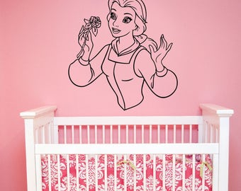 Disney Wall Decal Beauty and the Beast Art Princess Belle Vinyl Sticker Cartoon Decorations for Home Kids Girls Room Fantasy Decor bab3