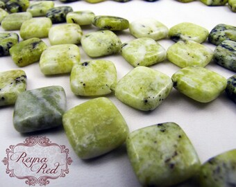 Natural Serpentine Smooth Diamond Beads, yellow green gemstone, diamond beads, serpentine diamonds, gemstone beads - reynaredsupplies