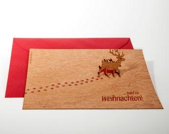 3 pop up cards wood with envelope - reindeer cards