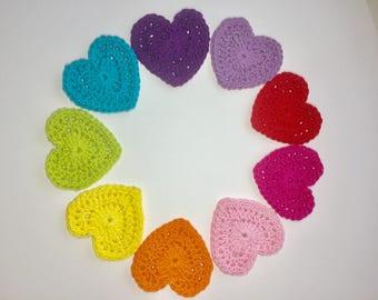 Rainbow of Hearts, 9 Crochet Hearts, Valentine Appliqué