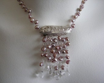 Handmade Pearl Crystal and Fine Silver Necklace Pink
