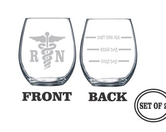 2 REGISTERED NURSE Stemless Etched Wine Glasses Set of 2 Engraved Wine Glasses Gift for NURSE Wine Glasses Gift Cocktail Glass