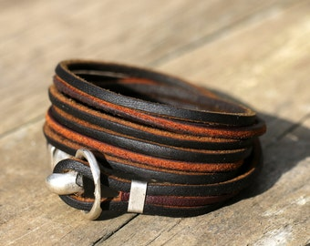 Boho leather wrap bracelet, handmade leather jewellery leather bracelet  womens leather bracelet Anniversary Gift