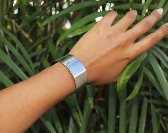 """Silver Metal Wrist Cuff * 1"""" Stainless Steel Bracelet"""