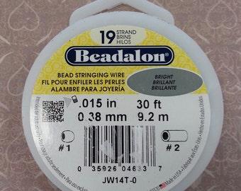 Beadalon Bead Stringing Wire. 19 Strand, .015 Thick 30 foot spool