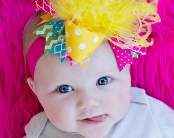 boutique BOLD BABY over the top hair bow complete on headband or clip