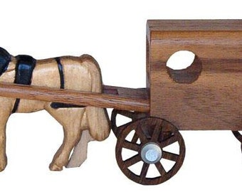 Walnut Wood Horse and Buggy