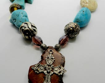Chunky Turquoise  Necklace Western Cross  Necklace Turquoise  Chunky  Jewelry Statement