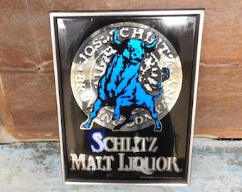 Schlitz Sign Wall Art Malt Liquor Blue Bull Sign Wall Decor for Bar Garage or Mancave Beer Sign