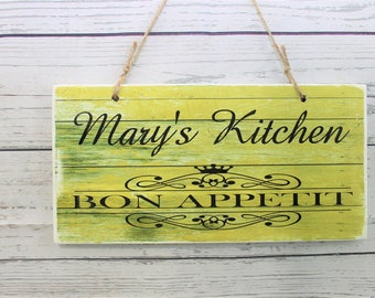 Personalized Your Name Bon Appetit Kitchen Printed Handmade Wood Sign