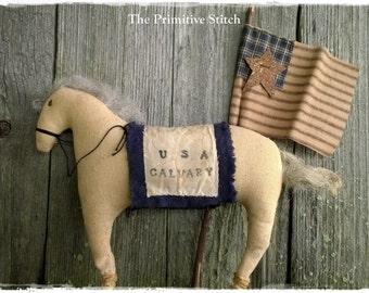 Primitive US Calvary Horse ~ Americana ~ American Flag ~ Patriotic