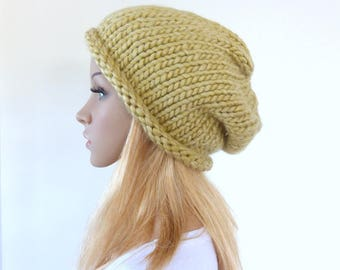 Yellow slouchy hat Yellow beanie hat Chunky Knit hat Womens women hat