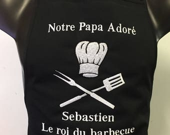 """Apron kitchen custom embroidered BBQ King """"name was set by Message"""" 2-3 days delivery"""