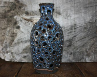 Ceramic luminary, Stoneware candle luminary