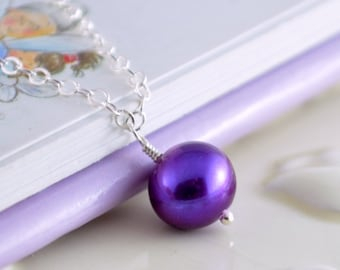 Flower Girl Jewelry, Grape Purple, Genuine Freshwater Pearl, Sterling Silver Necklace, Child Wedding