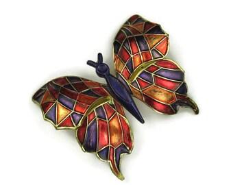 Large Enamel Butterfly Brooch