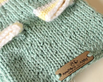 Extra Small Seafoam Blue, Yellow, White Dog Sweater - Knitted Dog Clothes - XS Pet Clothing - Toy Breed Dog Clothes