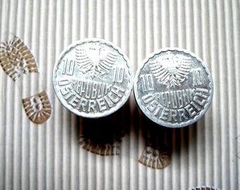 20mm aluminium Austria 10 groschen coins cuff links.