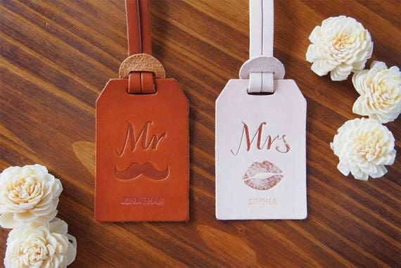 Mr and Mrs Luggage Tag Leather Leather luggage tags wedding