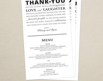 Menu de réception mariage et Merci carte Combo - mariage Menu - Menu carte Merci - couleurs personnalisées disponibles