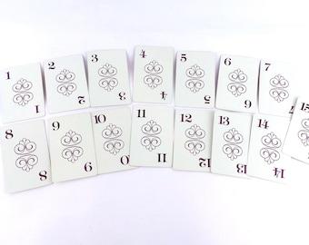Wedding Table Numbers, Vintage Number Cards, Set of 1-15,  Flinch Cards, Vintage Weddings, Flash Cards