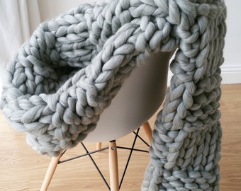 DIY Knit Kit Extremely Chunky Blanket Merino Wool Mothers Day