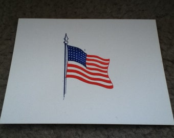 Two-Color USA Flag Letterpress Notecard with Envelopes