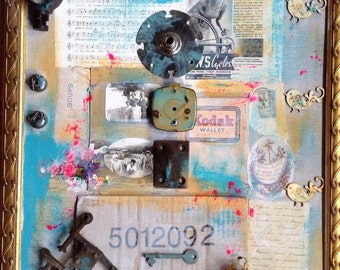 Overstrung And Underdamp - Altered art mixed media assemblage collage bicycle ephemera