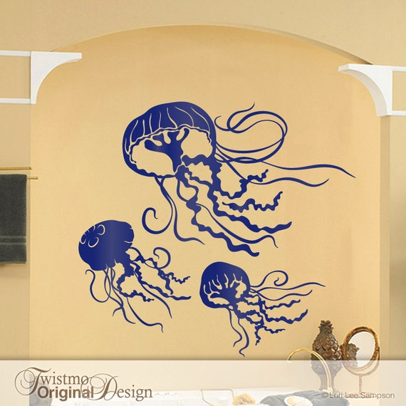 3 jellyfish decals bathroom wall decor under the sea room like this item ppazfo