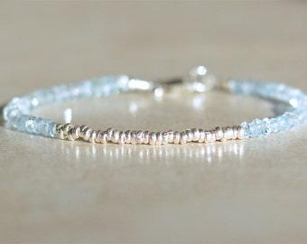 Aquamarine Bracelet, March Birthstone, Beaded Gemstone Bracelets, Hill Tribe Sterling Silver, Gift For Her, Dainty Stacking Bracelet