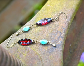 Red and Turquoise Blue Earrings Picasso Beads and Brass charms
