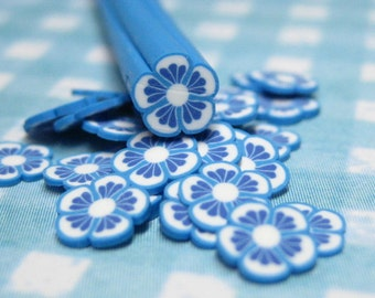 Blue & white flower Polymer clay cane 1pc uncut for decoden and kawaii crafts nail art supplies and miniature creations